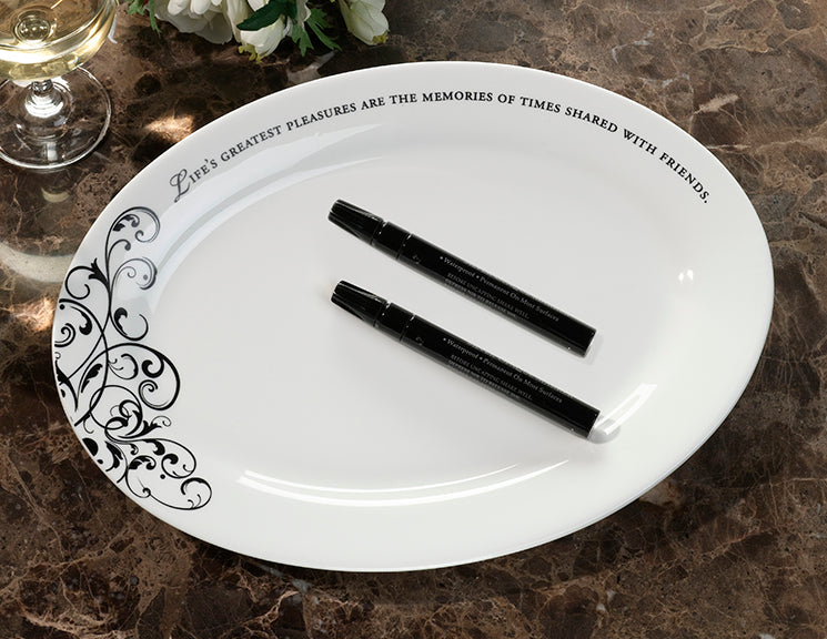 Wedding Guest Book Plate OVAL Signing Platter with Pens