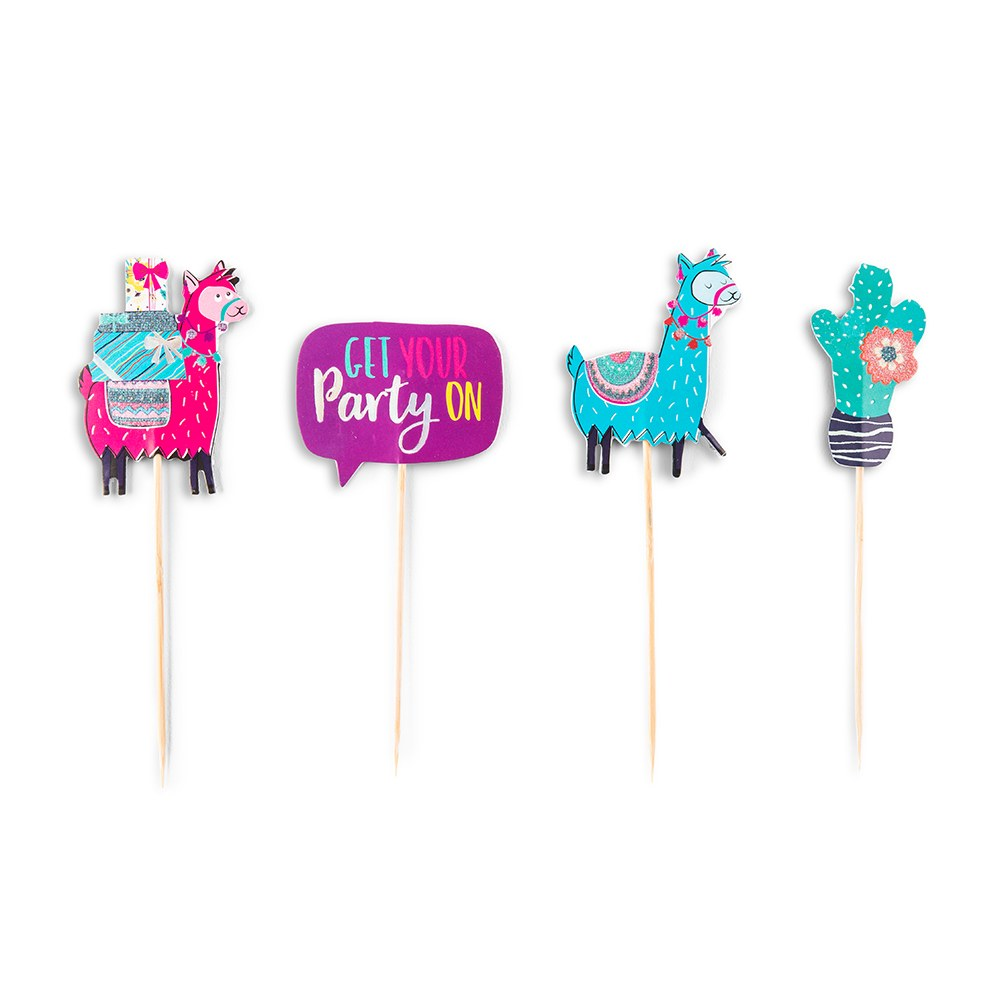 Colorful Fiesta Party Paper Cupcake Topper Picks