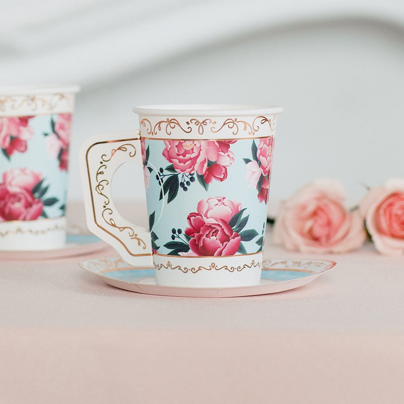 Disposable Floral Paper Tea Party Cups with Plates - Set of 8