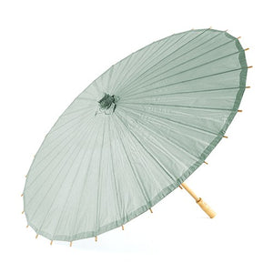 Light Sage Green Paper Parasol with Bamboo Handle