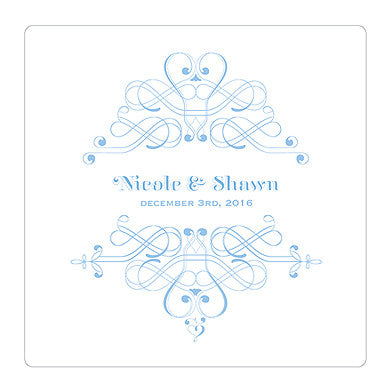 Pastel Blue Fanciful Monogram Personalized Clear Acrylic Block Cake Topper