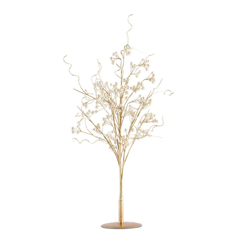 Vintage Gold and Pearl Wire Ornamental Tree Centerpiece
