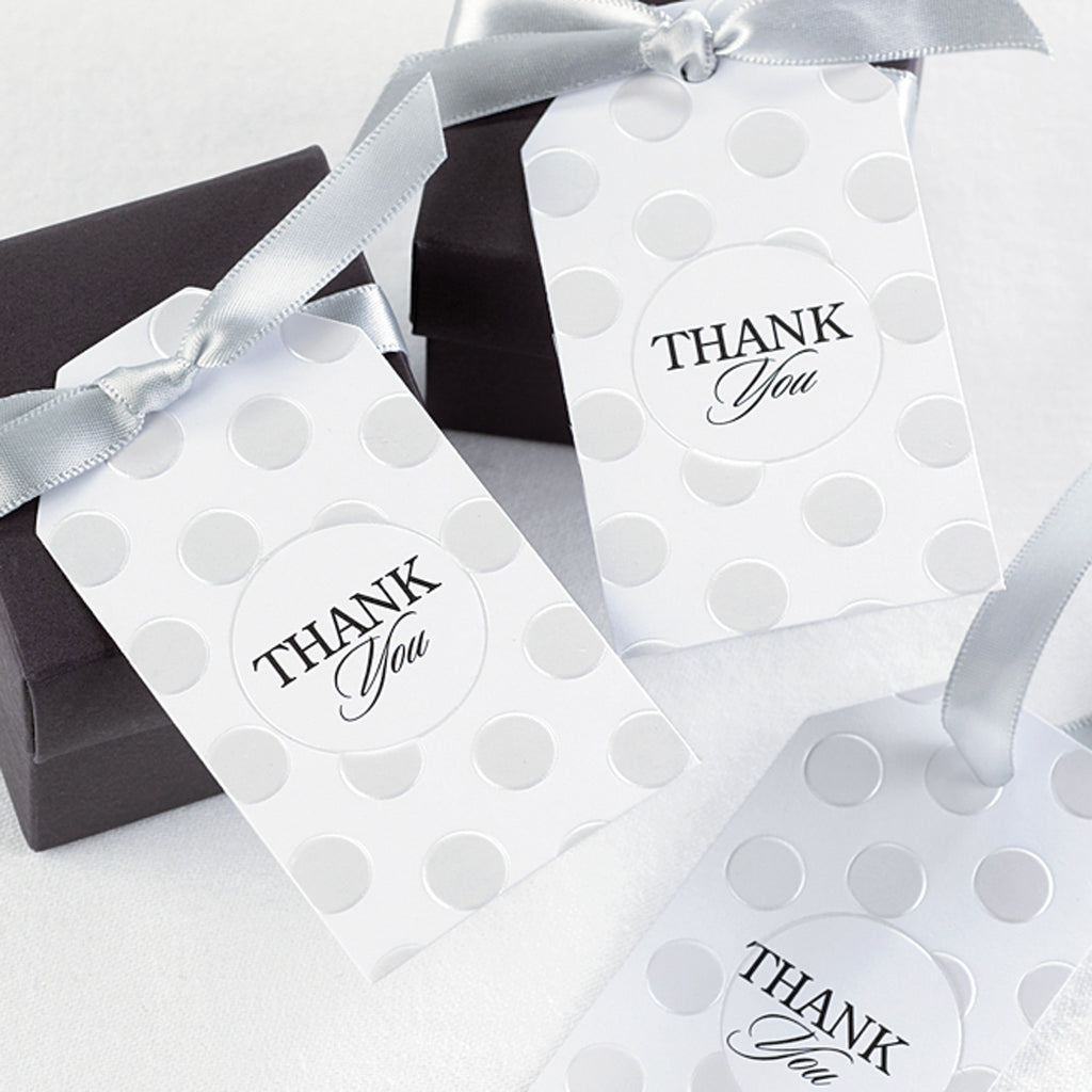 Pearl Dotted Thank You Wedding Party Favor Cards