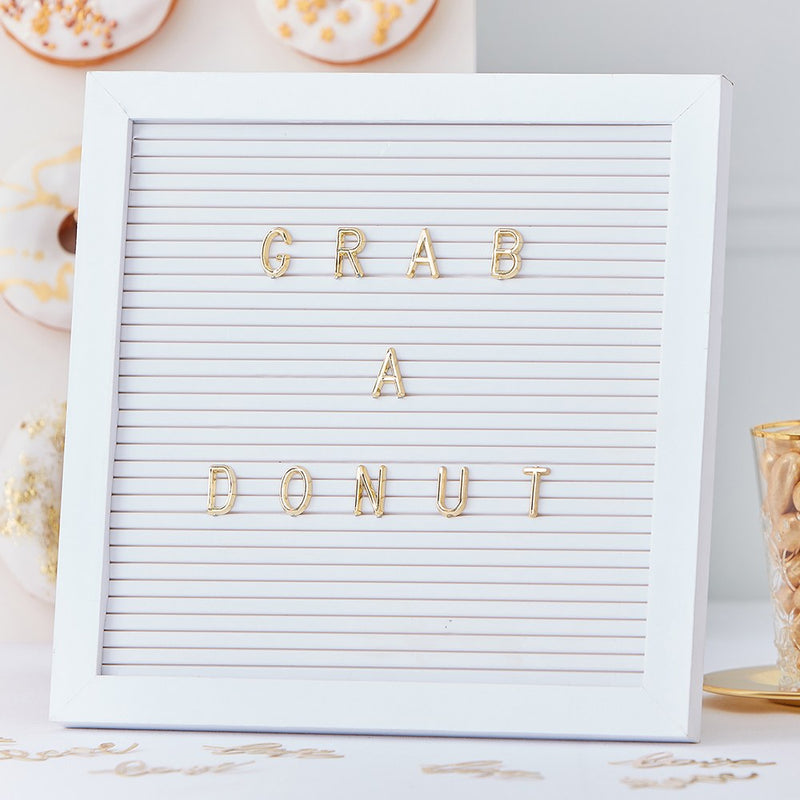 Peg Letter Board for Weddings and Parties - White & Gold