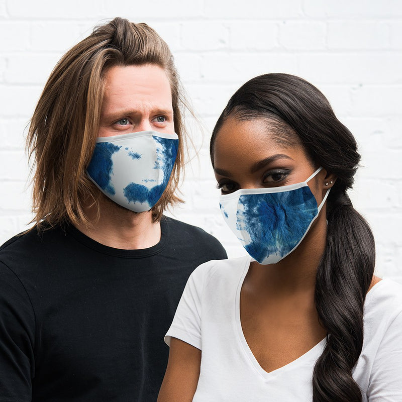 Personalized Adult Protective Cloth Face Mask - Blue Tie-Dye