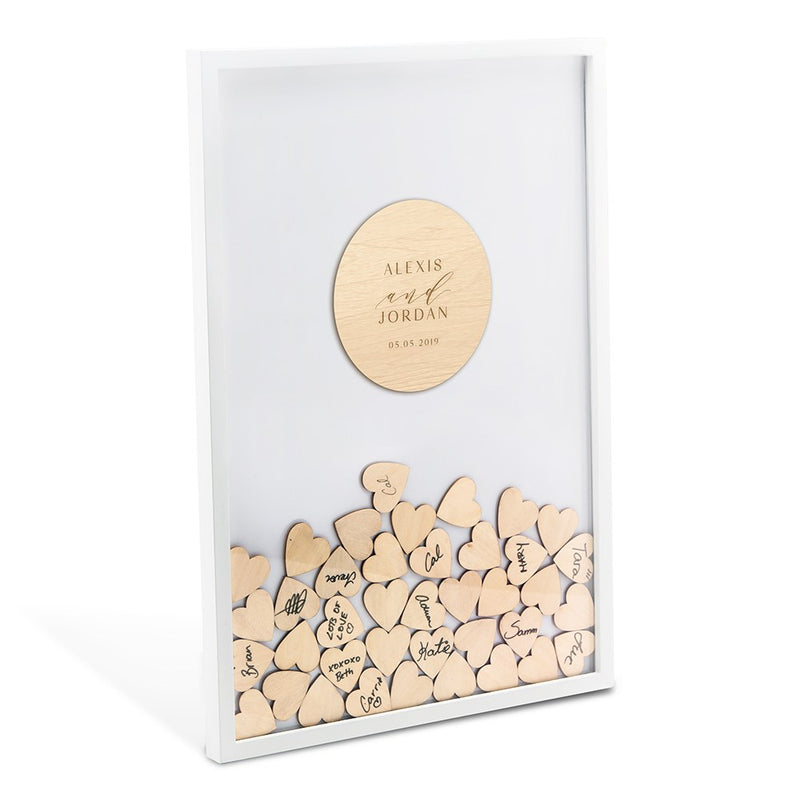 Personalized Drop Box Modern Guest Book Alternative with 100 Hearts