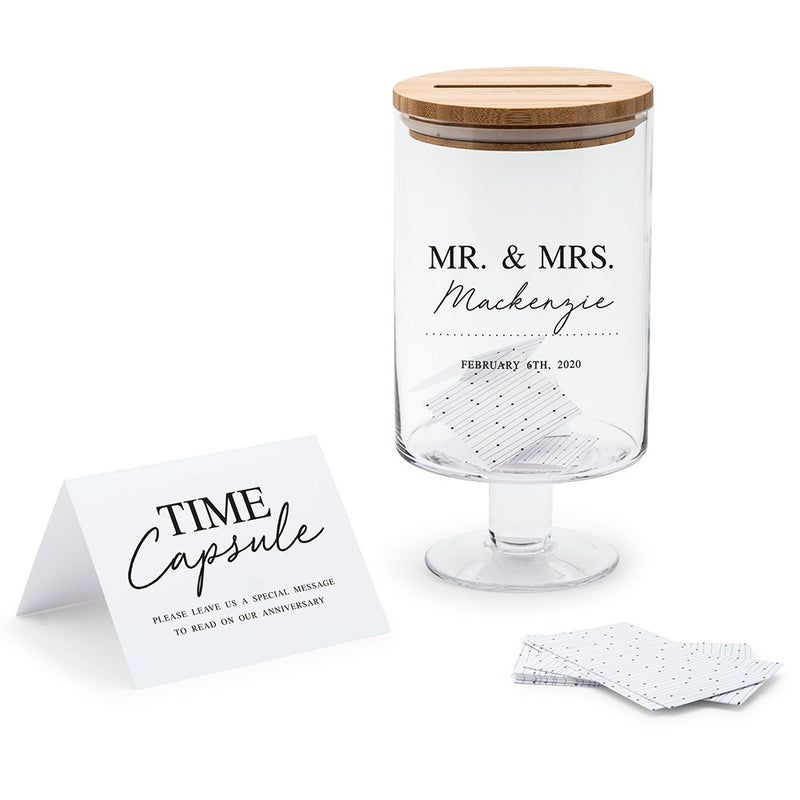 Personalized Mr. & Mrs. Glass Wedding Wishes Guest Book Jar