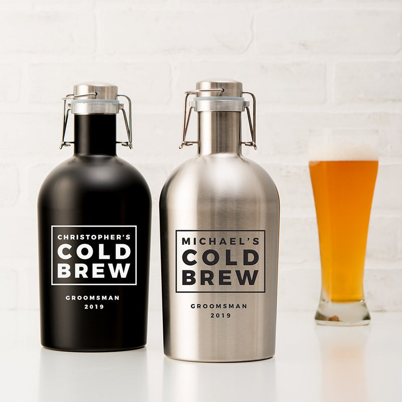 Personalized Cold Brew Stainless Steel Flip-Top Drink Growler