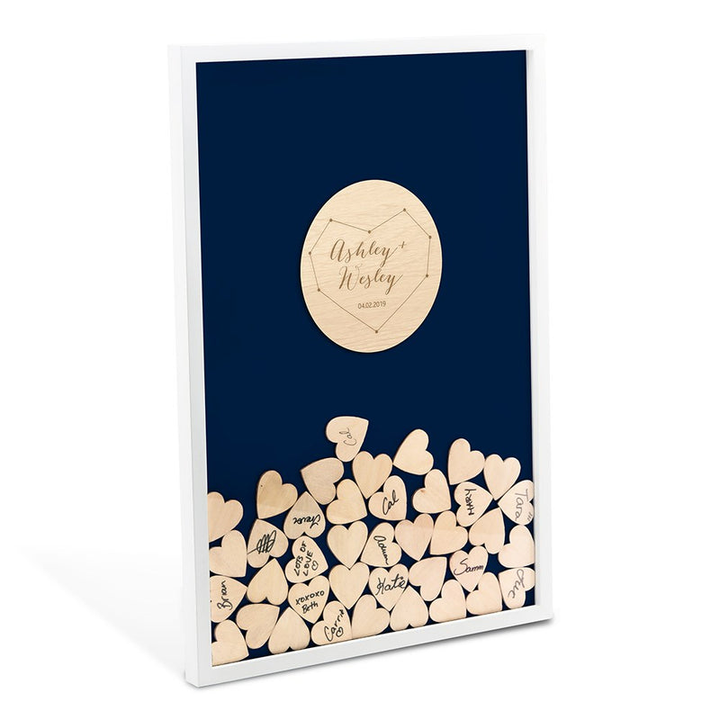 Personalized Drop Box Starry Night Guest Book Alternative with 100 Hearts
