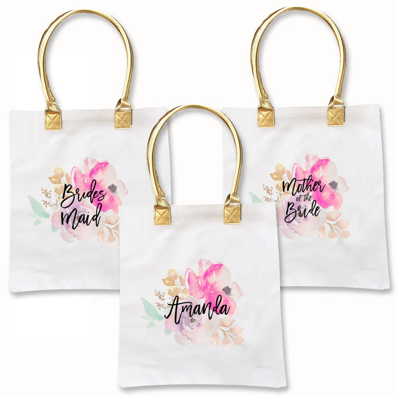 Personalized Bridal Party Gold and Watercolor Tote Bags