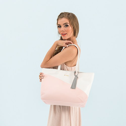 Monogrammed Pink White Faux Vegan Leather Tote Bag