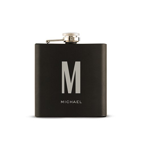Personalized Single Monogram Engraved Black Hip Flask