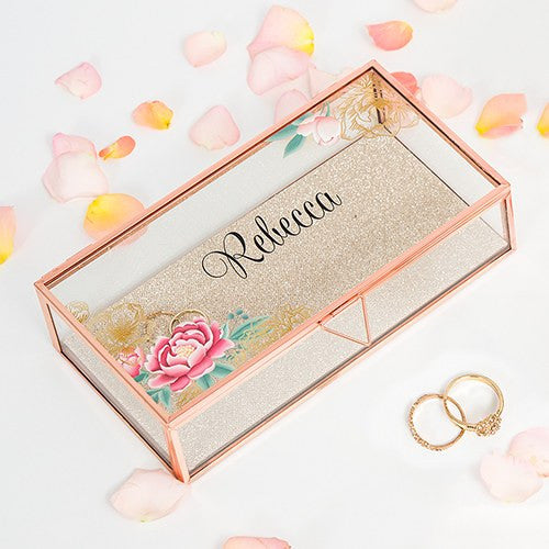 Rose Gold Floral Personalized Glass Jewelry Box Candy Cake Weddings