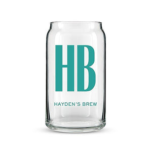 Personalized Custom Monogram Can Shaped Glass