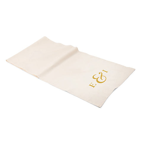 Personalized Monogram Ampersand Off White Linen Table Runner