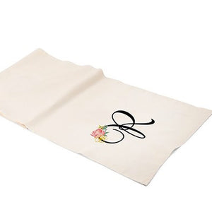 Personalized Floral Lettering Linen Wedding Party Table Runner