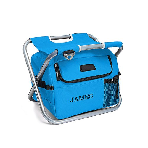 Personalized Sky Blue Folding Cooler Chair