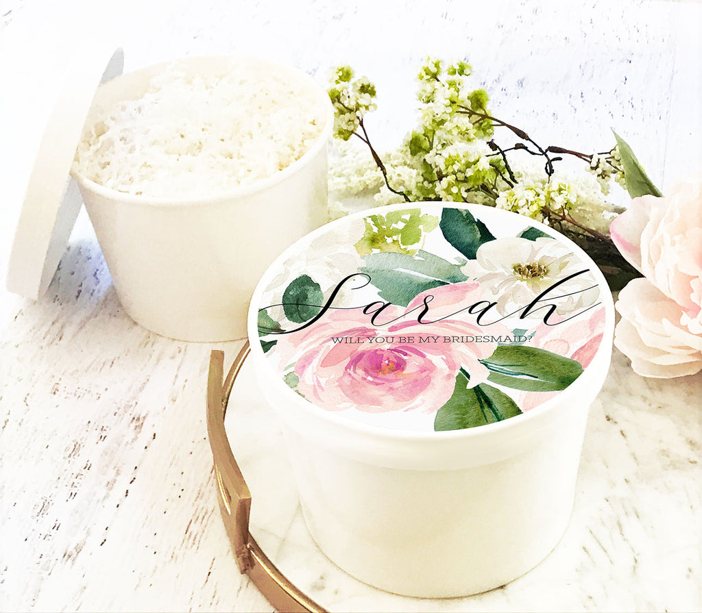 Personalized Spring Floral Bridal Party Round Gift Box