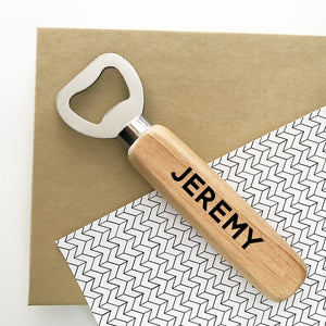 Personalized Wooden Bottle Opener Wedding Party Favor