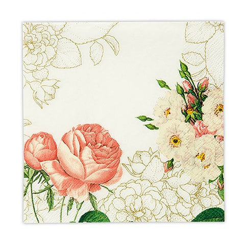 Pink Rose Floral Print Paper Napkins (Pack of 20)