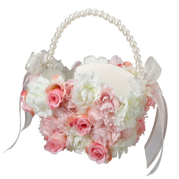 Pink & White Floral Flower Girl Basket