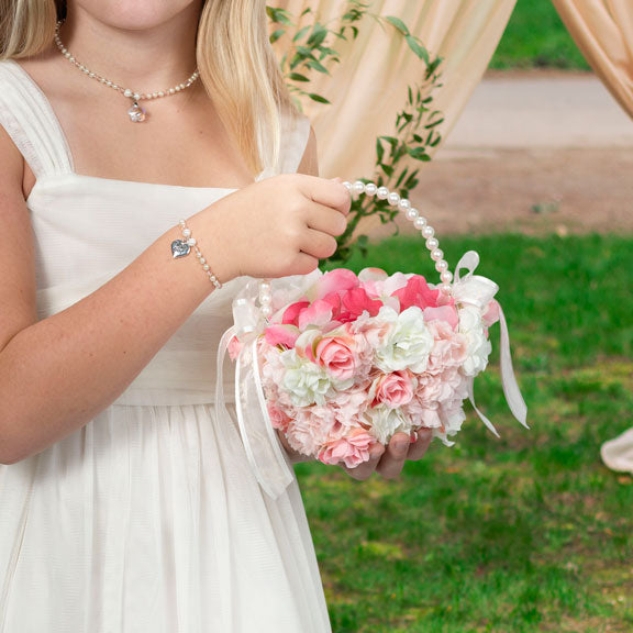 Pink and White Floral Flower Girl Basket