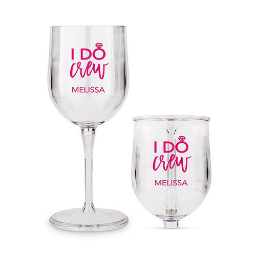 Personalized Wedding Party I Do Crew Travel Portable Nesting Glass