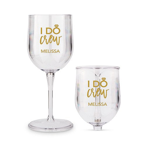Personalized Wedding Party I Do Crew Travel Portable Nesting Wine Glass