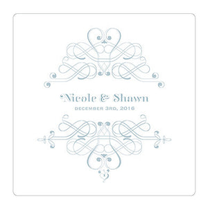 Powder Blue Fanciful Monogram Personalized Clear Acrylic Block Cake Topper