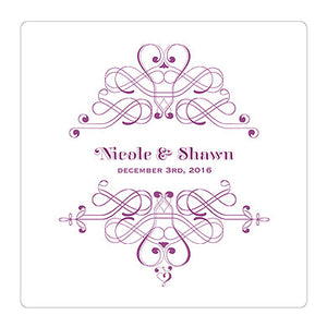 Purple Fanciful Monogram Personalized Clear Acrylic Block Cake Topper