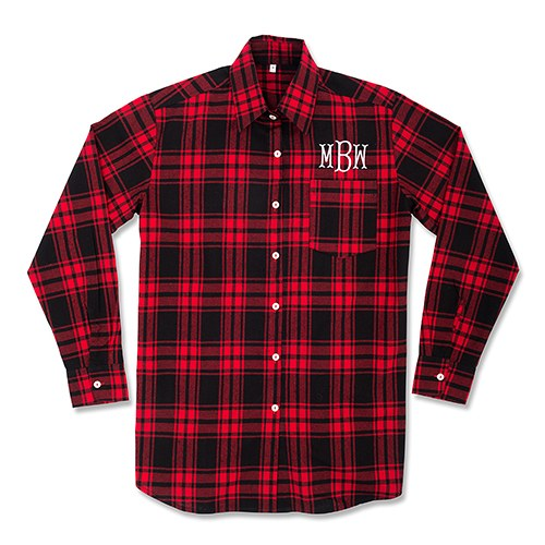 Personalized Embroidered Red Plaid Boyfriend Shirt For Bridesmaids