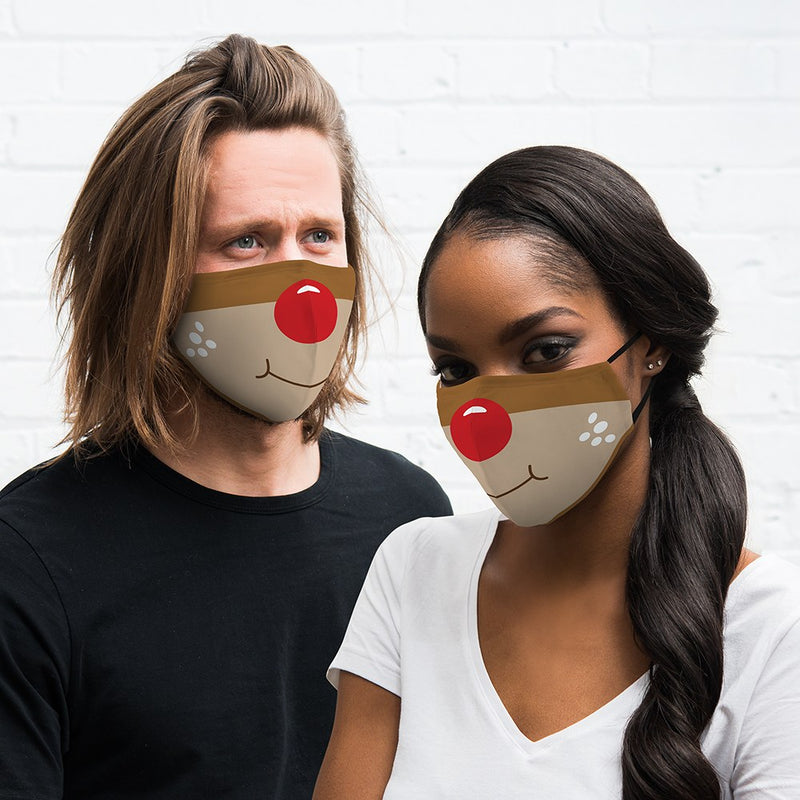 Reusable Cloth Face Mask - Rudolph Red-Nosed Reindeer