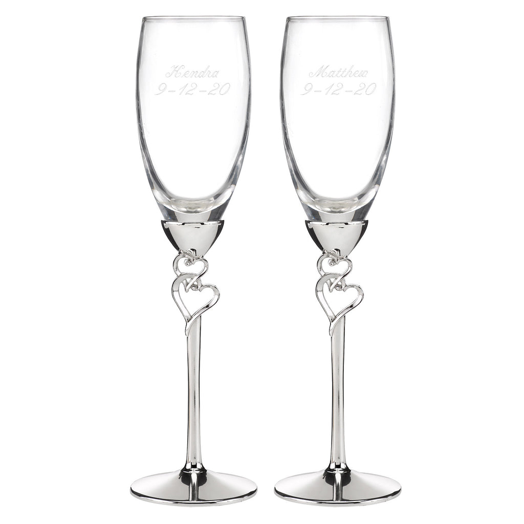 Personalized Rhinestone Hearts Bride and Groom Wedding Glass Set