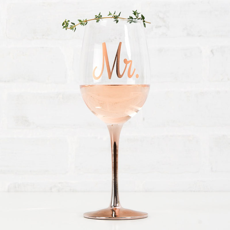 Mr. Metallic Rose Gold Stemmed 18 Oz. Glass