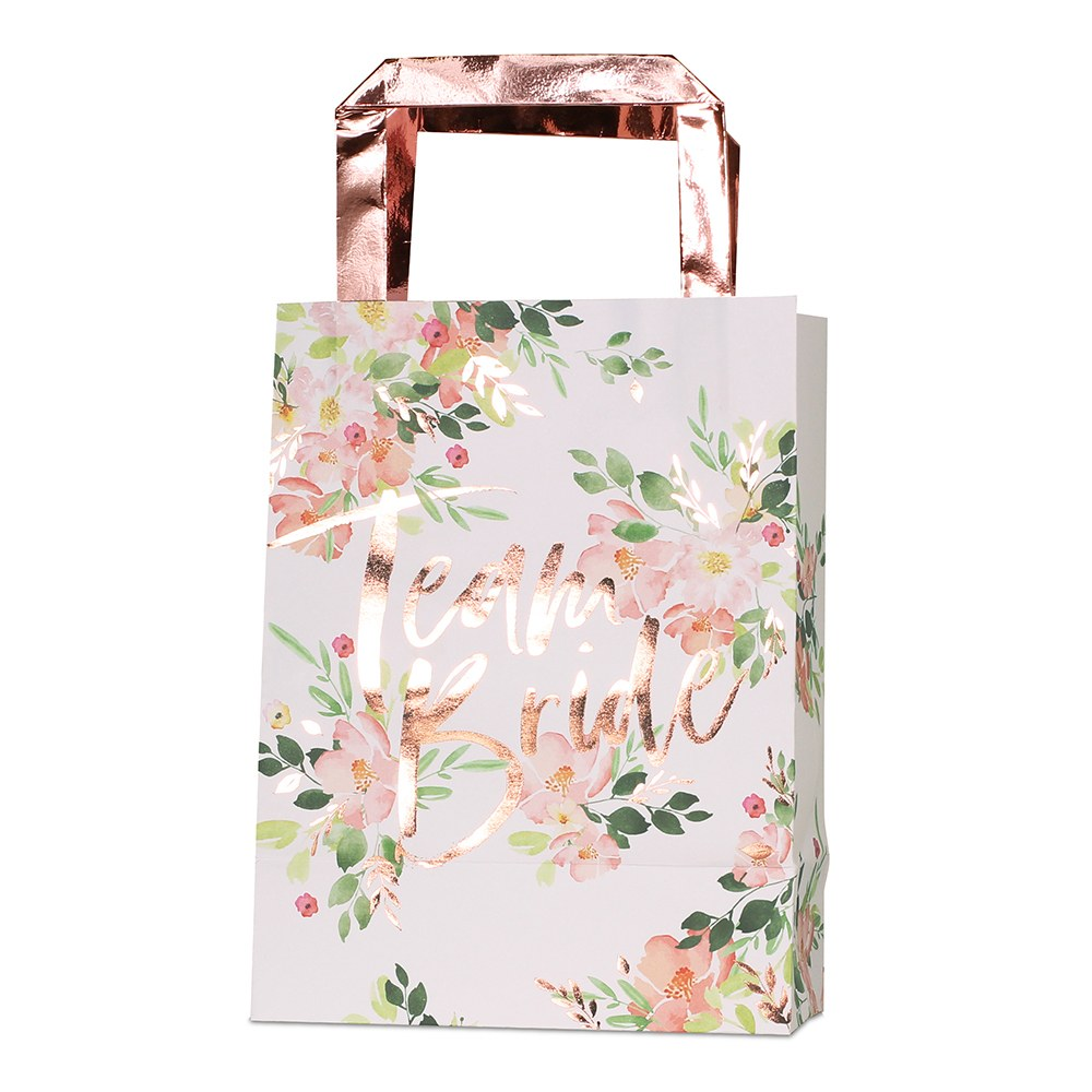 Team Bride Rose Gold & Floral Party Bag (Pack fo 5)