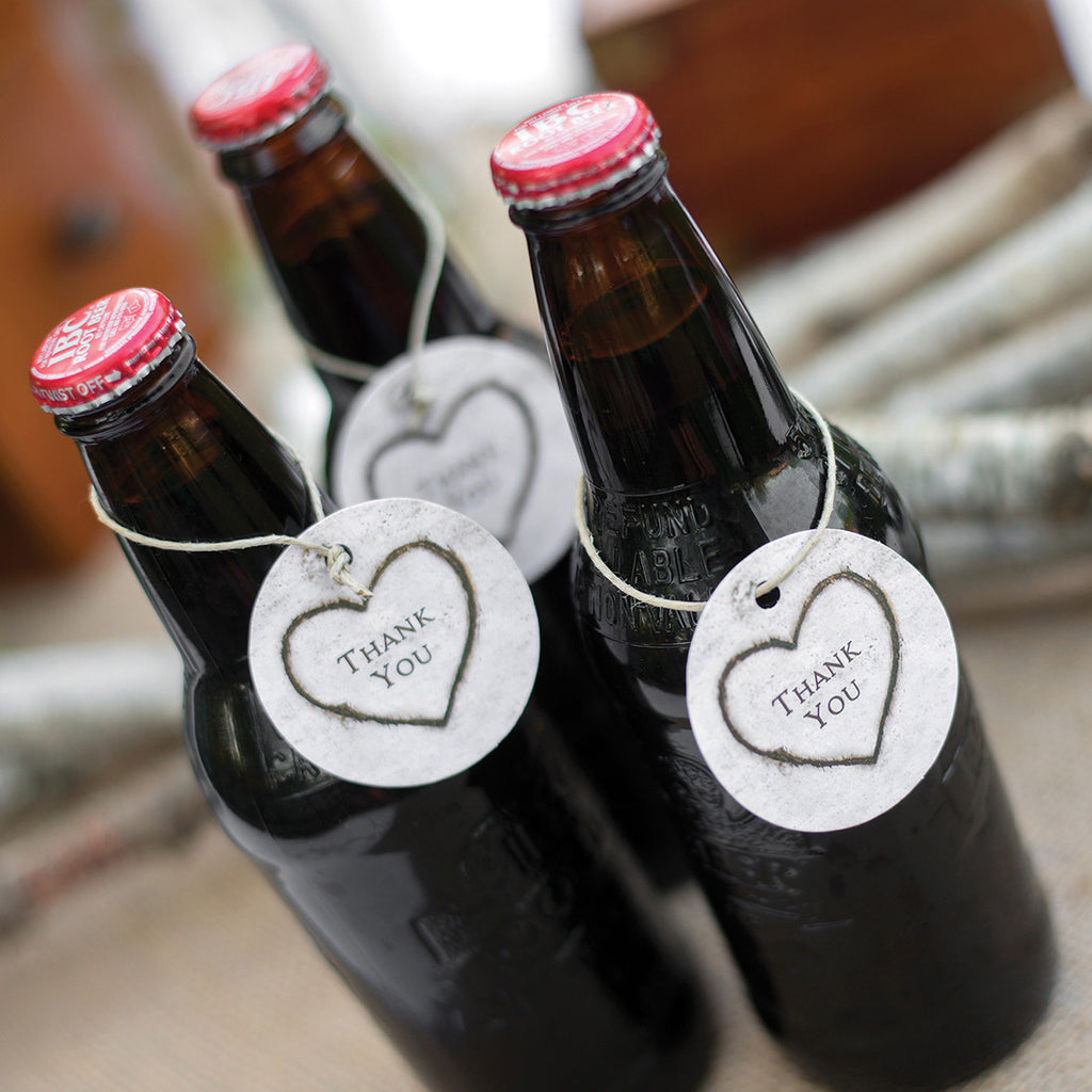 Rustic Heart Favor Cards on Root Beer Bottles