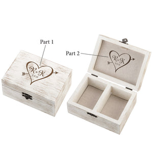 Rustic Wedding Ceremony Ring and Marriage Vow Box - Heart and Arrow