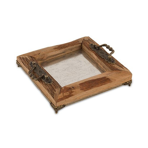 Rustic Wood Decorative Party Tray with Ornamental Handles