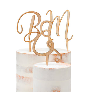 Script Initial Wood Cake Pick Wedding Cake Topper