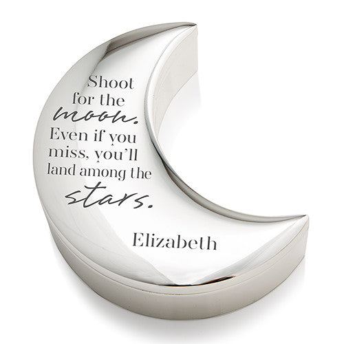 Personalized Silver and Velvet Half Moon Jewelry Box