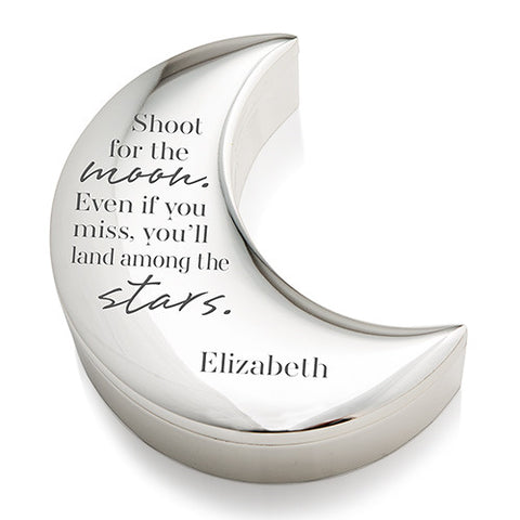 Shoot for the Moon Personalized Silver and Velvet Half Moon Jewelry Box