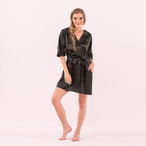 Black Personalized Woman's Silky Kimono Robe