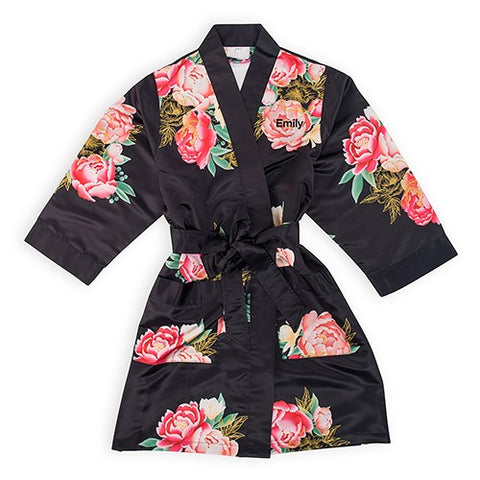 Black Floral Personalized Woman's Bridal Bridesmaid Silky Kimono Robe