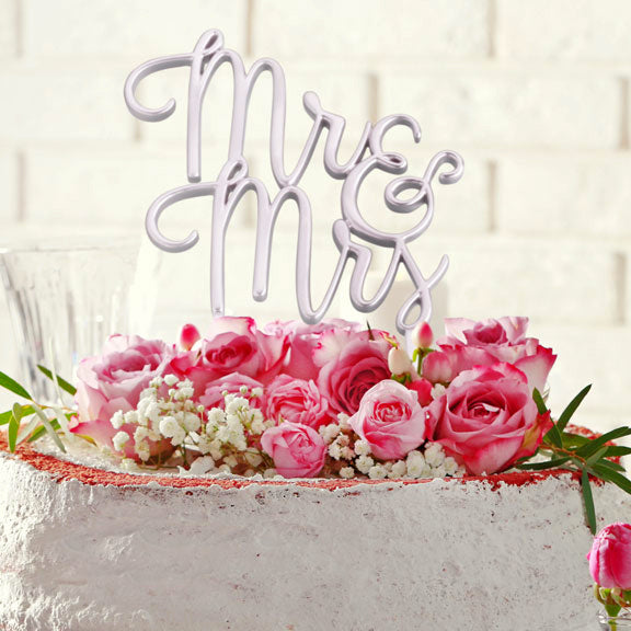 Gold or Silver Mr & Mrs Wedding Cake Topper