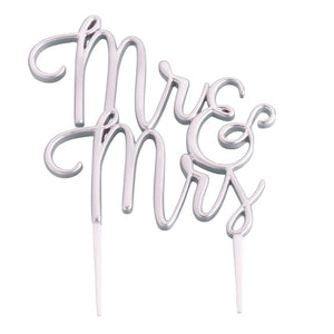 Silver Mr & Mrs Wedding Cake Topper