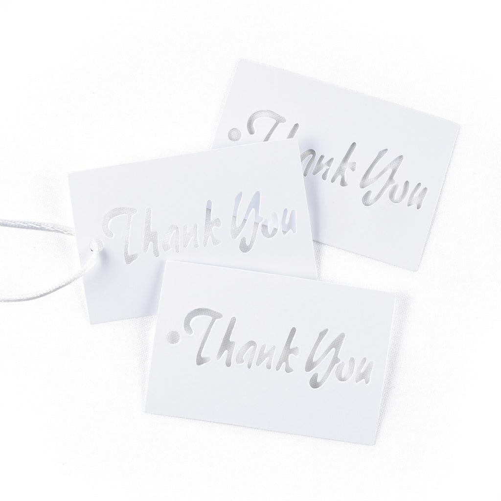 White Shimmer Cut Out Style Thank You Favor Card