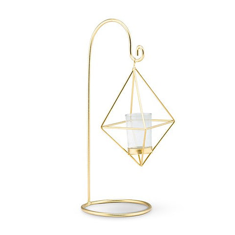 13-Inch Gold Geometric Hanging Tealight Holder (Pack of 2)