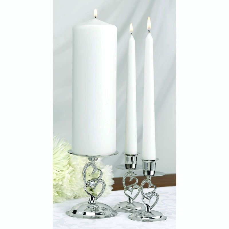 Sparkling Rhinestone Heart Candle Stand Set