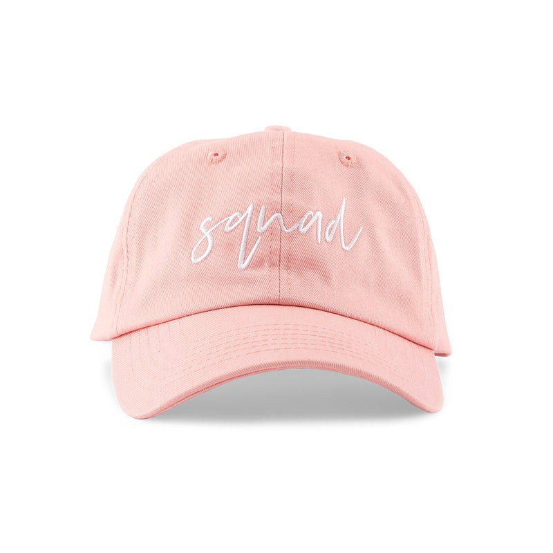 Pink and white bridal squad hat