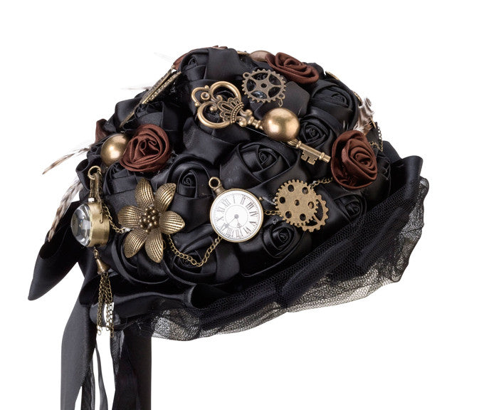 Steampunk Metal and Gears Bridal Wedding Bouquet